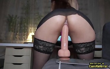 Girl In Skivvies Rides A Curvy Dong