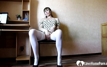 Hot uncle in white stockings masturbates passionately