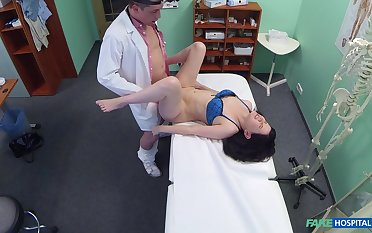 Wife strips naked for her doctor who wants to enjoyment from her