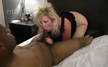 homemade interracial porn with blonde mature PAWG - cumshot