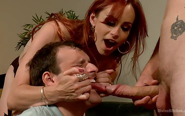 Dominant redhead shares slave's learn of with say no to spouse in a rough threesome