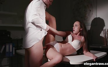 Hot coddle involving titillating lingerie, strong anal sexual congress with the boss