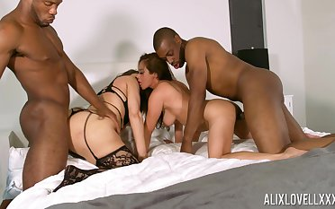 Black often proles fuck these bitches in rough foursome and flood their asses