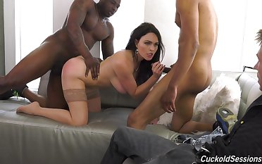 Black hunks fuck a wife while her hubby sits and watches