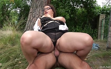 Big lady gets boned good gone away from while a big thong clings to her body