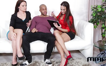 Two Czech milfs Mea Melone coupled with Wendy Moon enjoy ass-to-mouth fuck