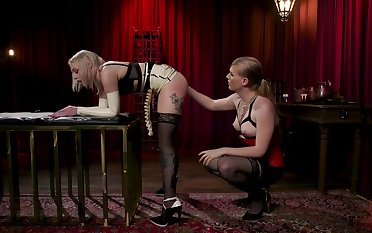 Blonde Arielle Aquinas is fucked and punished by kinky tranny