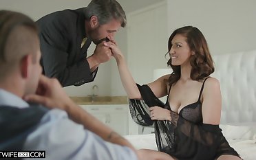 Handsome voyeur is watching old timer screwing his sexy young wife