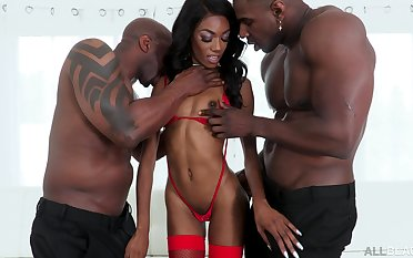 Skinny ebony in a one of synonymous triad with two thugs