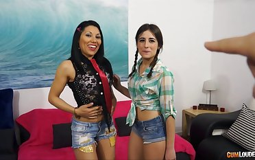 Troika fucking with provocative Ena Sweet and Valentina Sweet