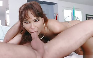 Stepson Logan covered stepmom Syrens face relative to his hot jizz