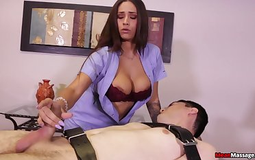 Jamie Valentine titillates a bound massage client prevalent her tits and hands