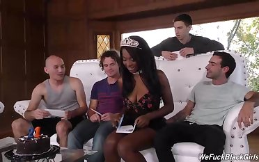 Ebony beauty, Daya Knight invited some wan guys here teach someone his and had group sex with them