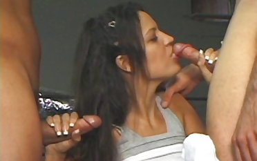Threesome bonking with dispirited Latina Alexis Amore and one dicks
