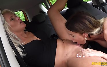 Sweet mediocre lesbians in mutual oral lovemaking scenes in the car