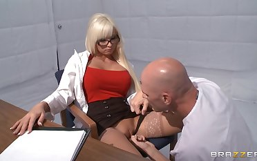 Sultry blonde Rikki Six takes a dick less her mouth and dote on tube