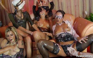 Jenna Lovely hot kinky lesbian sex league together