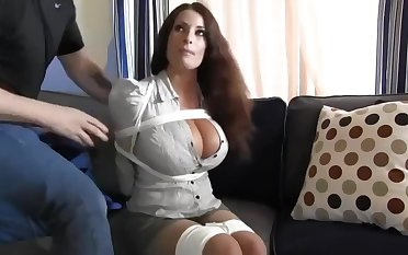 Buxomy housewife gets immensely crazy when she gets corded everywhere and left on the floor
