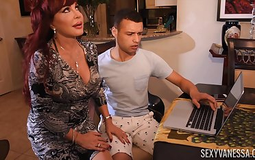 Horny neighbor knocks housewife's door with the addition of gets a nice blowjob