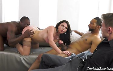 Krissy Lynn's cuckold watches nefarious men reach her the right way
