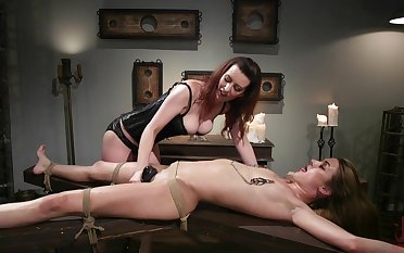 Lezdom session takes a kinky twist for Domme Cherry Torn and Zoe Sparx