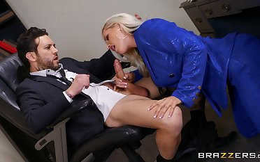 Deep in her pussy is nevertheless this thick secretary loves pleasing the boss
