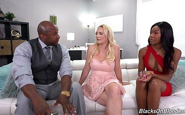 Black dude fucks his GF Nadia Jay and erotic blonde Paisley Porter