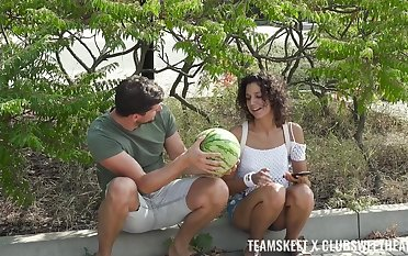 Emaciated young mollycoddle fucked for a melon