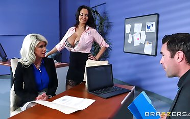 Riley Jenner is taught office civics by sexy Ava Addams