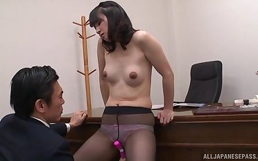 Rough office sex puts a Japanese cutie's tight twat nigh the break down