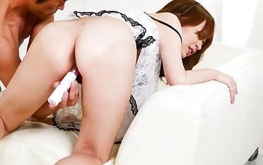 Miruku Ichigo devours two cocks in dirty threesome