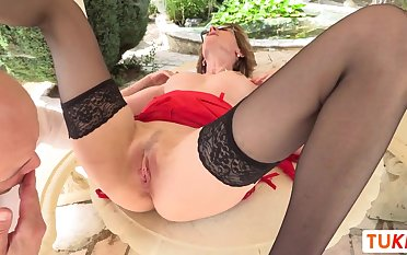 French Light-Haired COUGAR Laid waste Rigid in her older gash alfresco