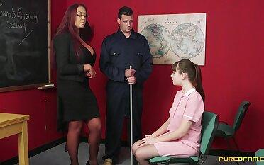 Hot womanlike teacher gets working near cock alongside a shy student