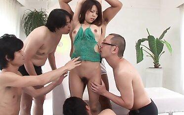 Asian beauty soaked in sperm baulk burnish apply guys roger her like a whore