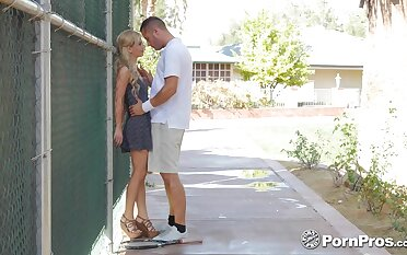 Shameless blonde girl with juicy aggravation Bella Rose enjoys riding cock out of reach of be imparted to murder bench