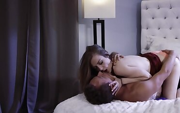 Babe enjoys partner's tongue that makes her moan in pleasure