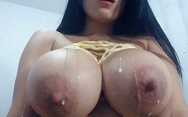 Feel one's way Asian slut exposed to webcam milking her massive boobs - monster tits almost lactation fetish