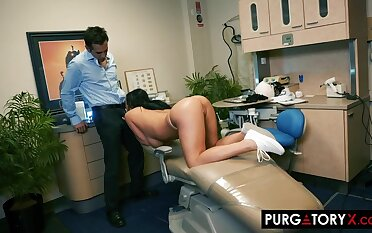 Smoking hot brunette with big bosom is having hardcore sex with her handsome dentist, in his office