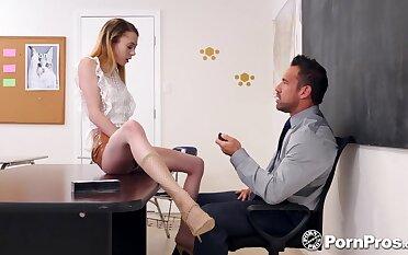 Slutty student Allie Addison offers herself sitting on teacher's feed