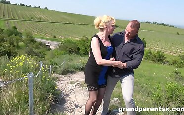 Forlorn outdoors triune back a girlfriend and an older chick