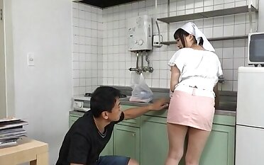 Busty Japanese maid gets their way pussy licked and fucked wean away from behind