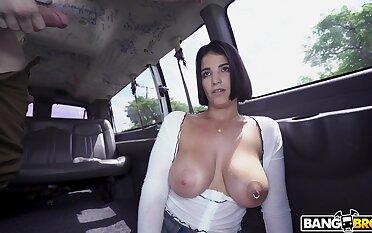 Big dig up for honcho brunette in bang bus romance