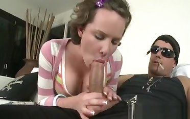 Angel Gives Hunk A Wicked One-eyed Monster Sucking Session