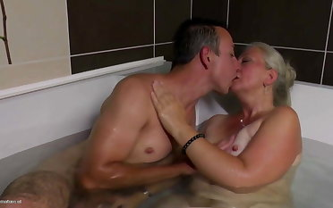 Lovely mature mom gets young cock in her hairy cunt