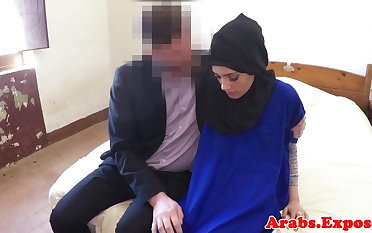 Hijab wearing muslim drools on dick