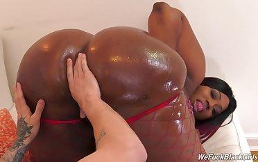 Thick ebony goes wild on a black fucker