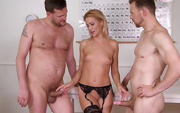 Anal whore fucks with the doctors in wild trio