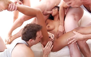 Restless ebony works a bunch of dicks like a pro