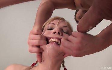 Messy rough sloppy deep throat and a cum shot for slutty blonde Ivona