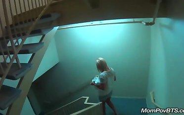 MILF in public pool before porn shoot